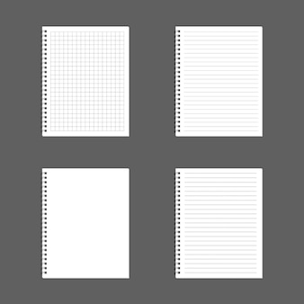 Taccuino di blocco note a spirale realistico in bianco isolato su vettore bianco