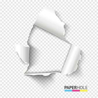 Foro di carta lacrima realistico in bianco su sfondo trasparente