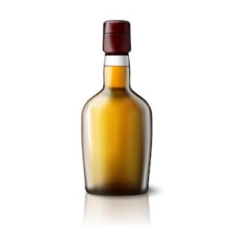 Bottiglia di whisky realistica vuota isolata su sfondo grigio con posto per il tuo design e branding. illustrazione vettoriale