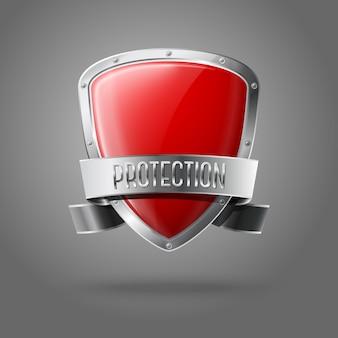 Scudo di protezione lucido realistico rosso vuoto con nastro d'argento e bordo su sfondo grigio con posto per il tuo e marchio.
