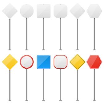 Illustrazione in bianco di progettazione del segnale stradale isolata su fondo bianco