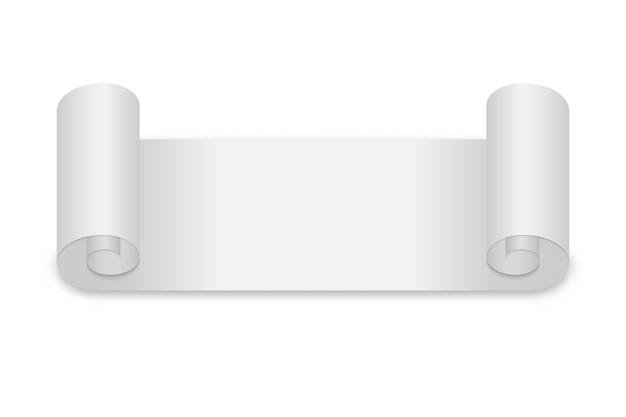 Illustrazione di carta in rotolo bianco isolato