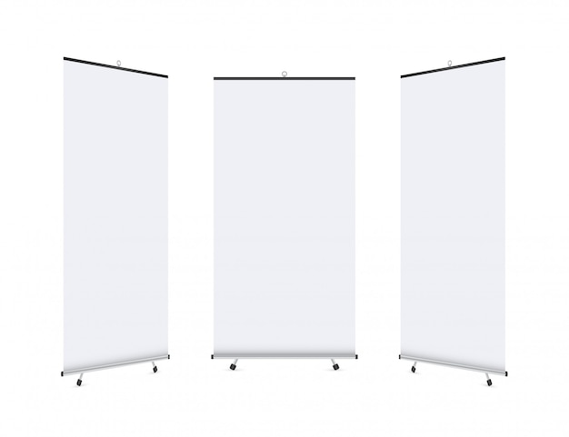 Display banner roll-up vuoto. alzare il banner banner