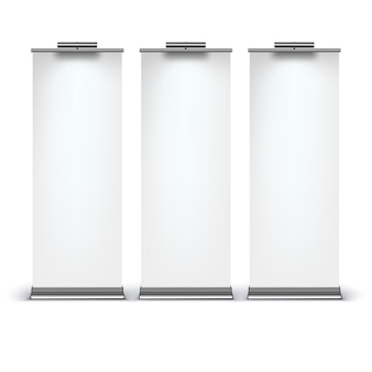 Blank roll up banner display su sfondo bianco