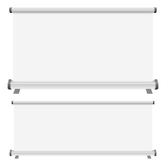 Lo spazio in bianco rotola sull'illustrazione dell'insegna su fondo bianco