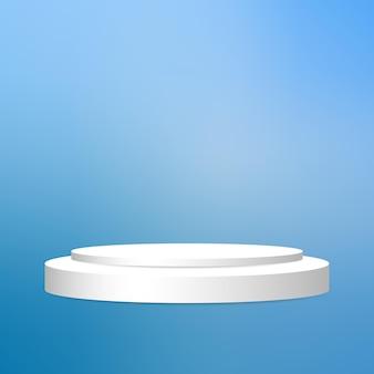 Podio circolare bianco con piedistallo rotondo bianco con cornice bianca su sfondo di illuminazione sfumata blu