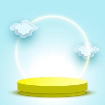 Podio rotondo vuoto con piattaforma di visualizzazione di prodotti cosmetici piedistallo giallo nuvole Vettore Premium