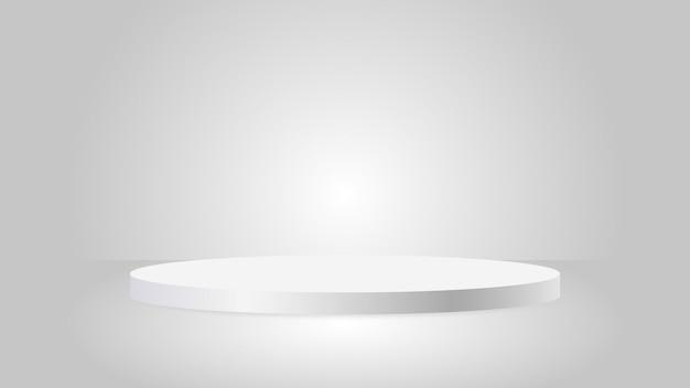 Podio premiato circolare bianco con piedistallo rotondo in argento bianco per l'eccezionale esposizione di prodotti di lusso