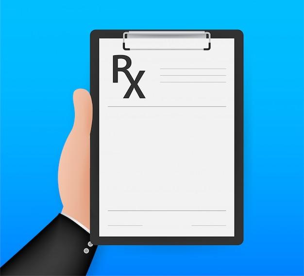 Modulo di prescrizione vuoto rx isolato su sfondo bianco. illustrazione di riserva.