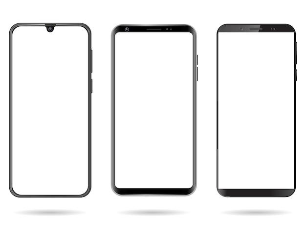 Smartphone con schermo vuoto isolato su sfondo bianco