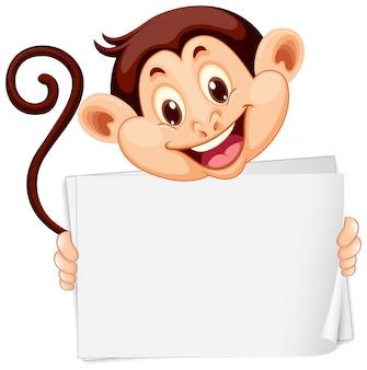 Modello in bianco del segno con la scimmia sveglia su fondo bianco