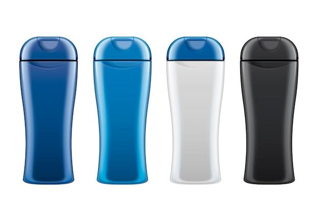 Bottiglie per la cura della pelle in bianco impostate su sfondo bianco