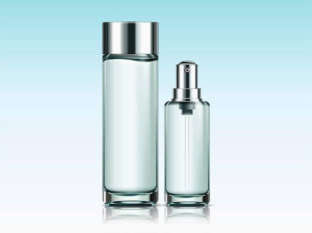 Modello vuoto di bottiglie per la cura della pelle per usi di design nell'illustrazione 3d