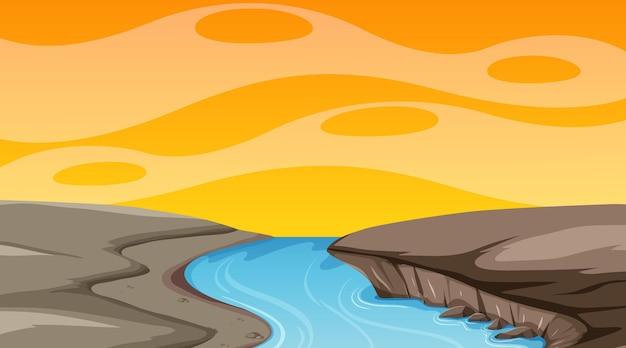 Cielo vuoto alla scena del tramonto con un paesaggio alluvionale vuoto blank