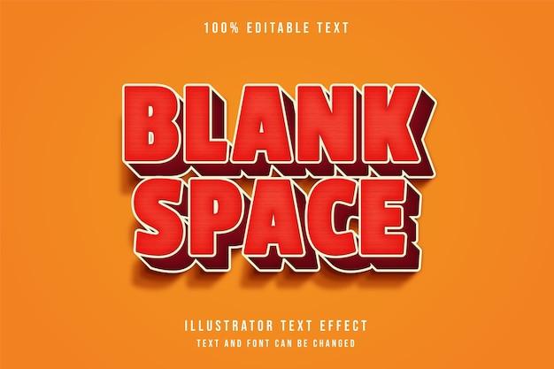 Spazio vuoto, 3d testo modificabile effetto gradazione rossa ombra moderna stile fumetto