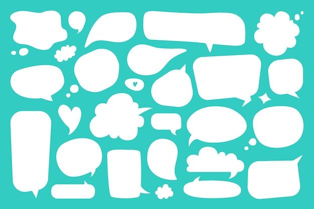 Bolla di discorso vuota dialogo comico vuoto bianco pensiero palloncini doodles