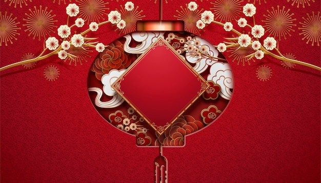 Distico di primavera in bianco con silhouette di lanterna appesa in mezzo, sfondo rosso per il nuovo anno