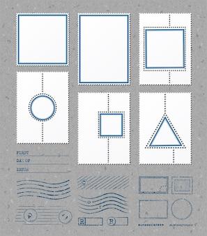Modelli di cornici di francobolli vuoti con spazio per immagini e testo