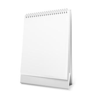 Calendario da tavolo bianco in piedi con una spirale.