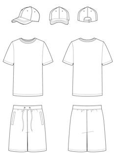 Modelli vuoti di t-shirt, berretto da baseball e pantaloncini. divisa sportiva. illustrazione vettoriale su sfondo bianco per il tuo design di moda