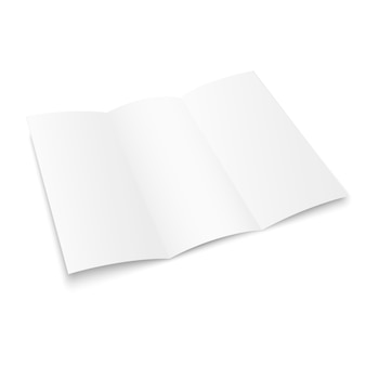 Brochure pieghevole in bianco. libro bianco opuscolo bianco. brochure di carta a tre pieghe per il tuo design.