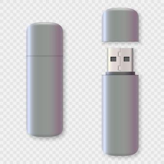 Set di design per unità usb vuota, rendering 3d.