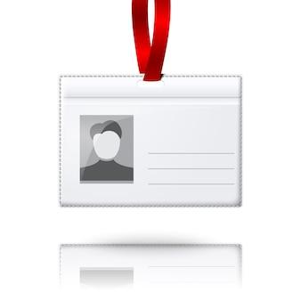 Porta badge verticale vuoto con posto per foto e testo. con pizzo luce brillante. isolato su sfondo grigio per design e branding.
