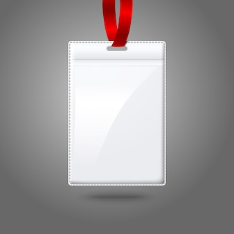 Porta badge verticale bianco con pizzo chiaro brillante. isolato su sfondo grigio per design e branding.