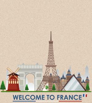 Cartolina d'epoca in bianco con il punto di riferimento della torre eiffel della francia
