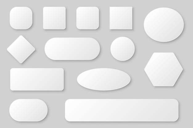 Collezione di modelli di pulsanti web vuoti con ombra in grigio