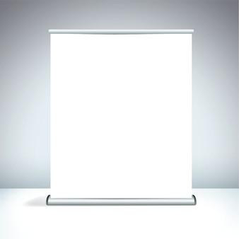 Grande display roll-up bianco vuoto Vettore Premium
