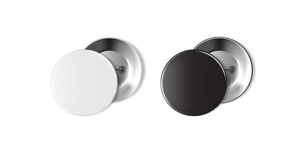 Distintivo bianco e nero vuoto isolato su priorità bassa bianca