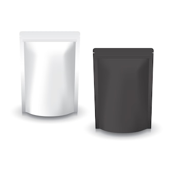 Borsa a chiusura lampo in piedi bianca e nera vuota per cibo.