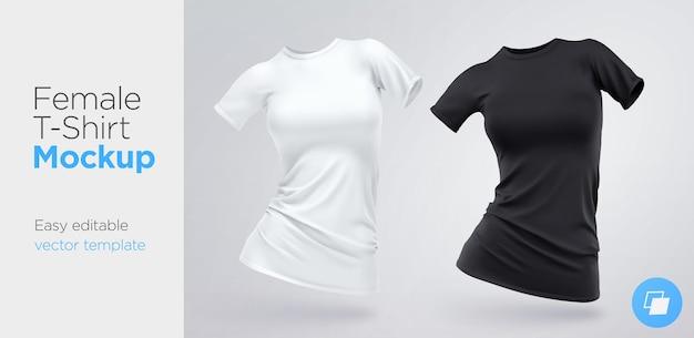 Modello di t-shirt donna bianca e nera in bianco