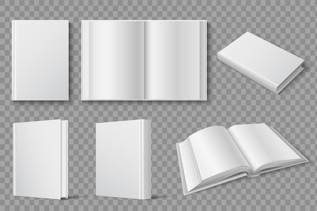Libri chiusi e aperti bianchi in bianco. libri di testo e opuscoli modello isolato. copertina, libro di testo bianco e brochure, illustrazione in brossura aperta