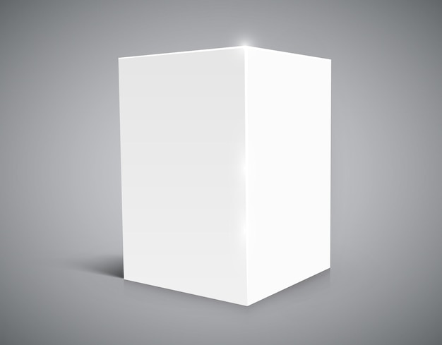 Cubo bianco vuoto isolato su sfondo bianco