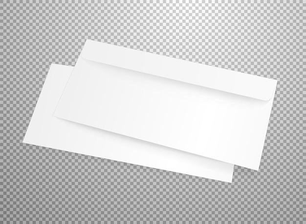 Mockup di vettore busta bianca vuota isolato su trasparente. illustrazione realistica