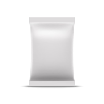 Mockup di sacchetto di lamina bianca vuota. borsa a bustina realistica