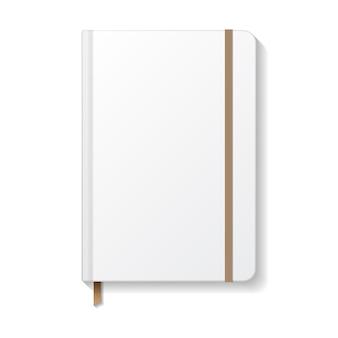 Taccuino bianco vuoto con elastico marrone e modello di modello di segnalibro a nastro