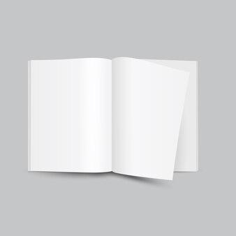Vista frontale della rivista aperta bianco bianco