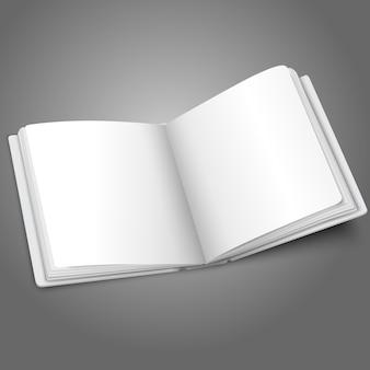 Libro bianco bianco aperto o album fotografico per i tuoi messaggi, concetti di design, foto ecc.