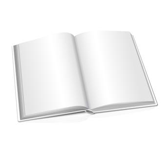 Libro realistico aperto bianco in bianco su fondo bianco