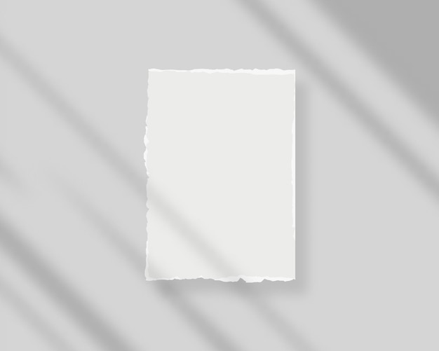 Carta bianca vuota con sovrapposizione di ombre foglio di carta bianco vuoto mockup mockup vettoriale isolato modello di progettazione illustrazione vettoriale realistica
