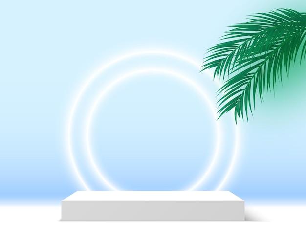 Podio bianco vuoto con piattaforma espositiva per prodotti cosmetici con piedistallo quadrato foglie di palma