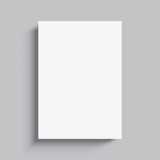 Modello di poster bianco vuoto, su sfondo grigio.