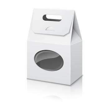 Sacchetto di imballaggio di carta realistico bianco vuoto con manico e finestra trasparente, con riflessione.