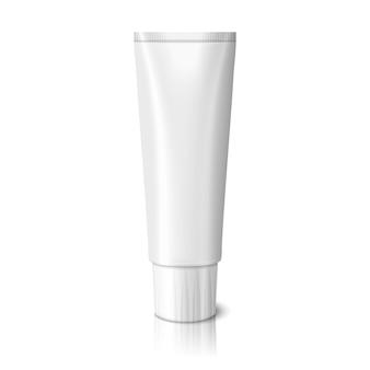 Tubo realistico bianco vuoto per dentifricio, lozione, cosmetici, creme medicinali ecc. isolato su sfondo bianco con la riflessione e il luogo per il design e il marchio.
