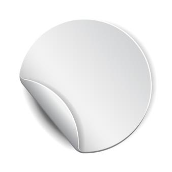 Adesivo promozionale rotondo bianco, bianco