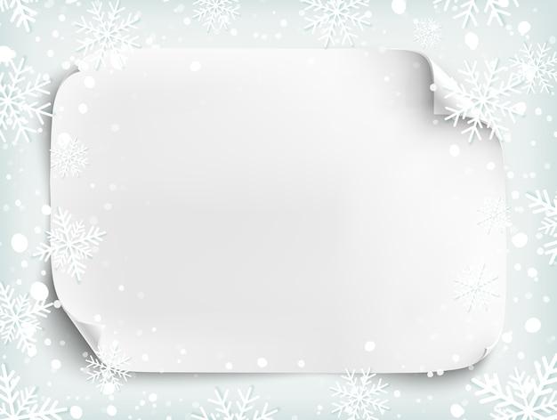 Foglio di carta bianco vuoto su sfondo invernale con neve e fiocchi di neve. modello di brochure, flyer o poster. illustrazione.