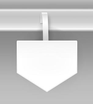 Vuoto quadrato bianco freccia papper pubblicità in plastica prezzo wobbler vista frontale isolato su sfondo